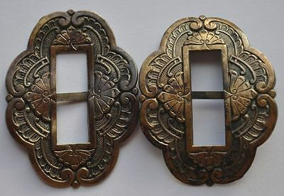 19th Century Russia Antique Ethnic Woman's Belt Buckle Pair Larger Sized Bronze