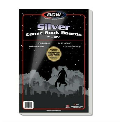 Pack 100 BCW Silver Age /Era Comic Book Acid Free Backing Boards white backers
