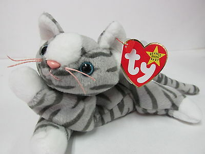 Ty Beanie Baby Prance, Silver Tabby Feline, Kitty Cat PRISTINE CLEAN / Mint Tags