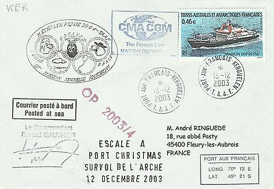Taaf Fsat Navire Marion Dufresne Vessel Schiffe Poste a Bord on Board Cover 2003