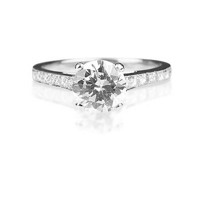 1.72CT Vintage Diamond Engagement Ring Antique Hand Engraved New 14k White Gold