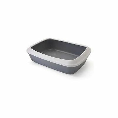 Isis Cat Litter Tray With Rim Cool Grey 50x37x14cm - Accessories - Cat - Litter