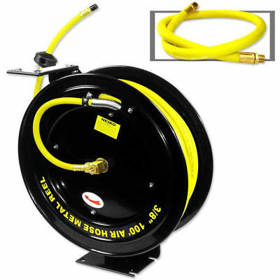 "Air Hose 300psi w/ Retractable Reel 3/8"" inch x 100' ft Industrial Grade Steel"