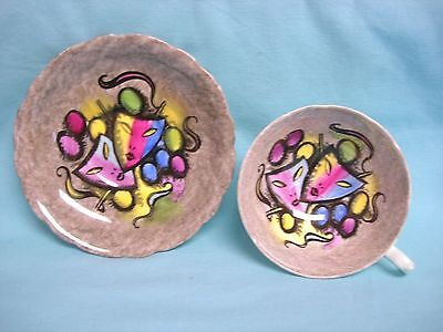 Aynsley RARE Art Deco Cup & Saucer Hand Painted Masks Multi Colored