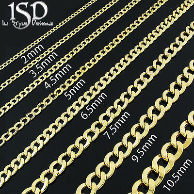 10k Yellow Gold Mens Womens Hollow Cuban Curb Link Chain Necklace 2mm - 11mm