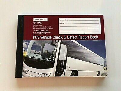 50 page - Nil Defect Bus Coach PSV Drivers Walk Around Check Book Duplicate x1
