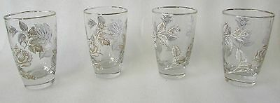 Libbey White Rose Bouquet Pattern Glass Gold Rim Tumblers Highball Cocktail