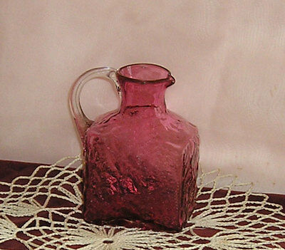 "Pilgrim Cranberry Glass Nugget Pitcher Nugate Pattern Hand Blown 60s 4.25"" USA"