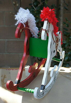 Collector's Christmas Wood Rocking Horse Decorative Carriage with Candy Server