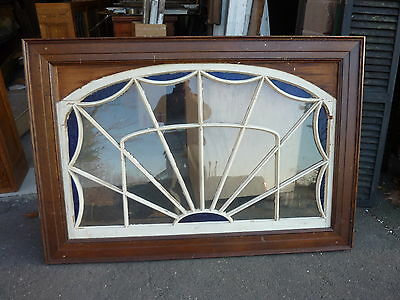 HUGE gable END stain GLASS arched WINDOW oak FRAME spiderweb design 63 x 43""