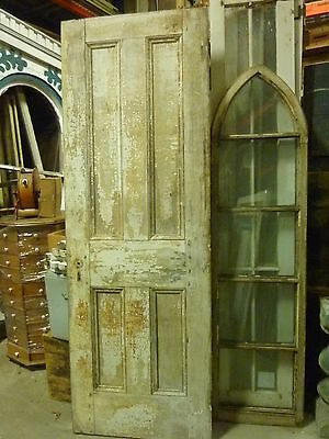 """LATE 19th century PANELED railroad DEPOT door OLD crackled WHITE paint 95 x 33"""""""