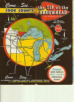 VINTAGE 1958 COOK COUNTY LAKE SUPERIOR BOUNDARY WATERS MINNESOTA BROCHURE MAP
