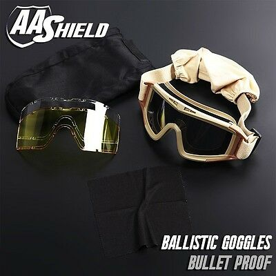 AA Shield Bullet Proof Goggles Mask Military Tactical Assault Pack 3 Lenses