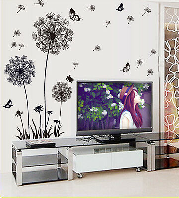 Removable Wall Art Sticker Vinyl Decal Black Dandelion DIY Room Home Mural Decor