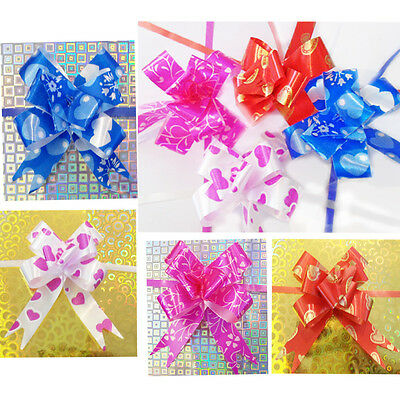 10* HEART Pull Back Bow Gift Wrap Wrapping Present Party Decor Ribbon Bows 12MM