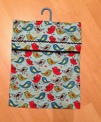 Handcrafted  Quirky Birdy Fabric Peg Bag