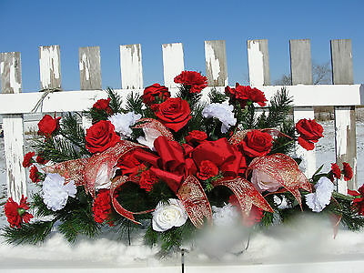 Christmas Day XLG Tombstone Cemetery Memorial Flower Carnations Red White Roses