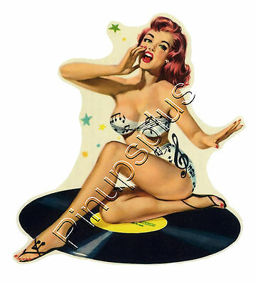 Waterslide Decal Sticker Classic Record Pinup Girl Design Setzer Jones Guitar