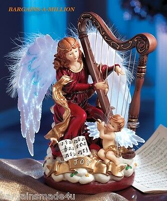 Christmas 12-Song Musical Fiber Optic Angel Harp Holiday Figurine
