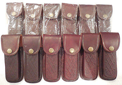 """Lot.of 12  brown textured leather knife sheaths -  knives up to 5"""" Fits Buck 110"""