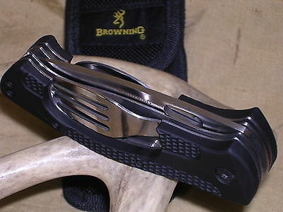 BROWNING HOBO CAMP HUNTING SPOON FORK SCOUT POCKET KNIFE W SHEATH CASE !