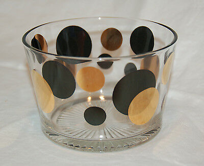 Russell Wright Eclipse Black Polka Dot Ice Bowl - Pristine, Mid Century Barware