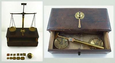 Antique Brass Jeweler's / Miner's Travelling Scale in Wooden Box with Weights