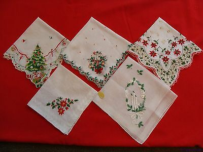 Vintage Mid-Century Christmas Hankies Handkerchiefs Lot of 5