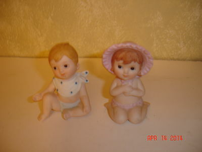 BABY BOY AND GIRL PORCELAIN FIGURINES 1990 G.Z.L