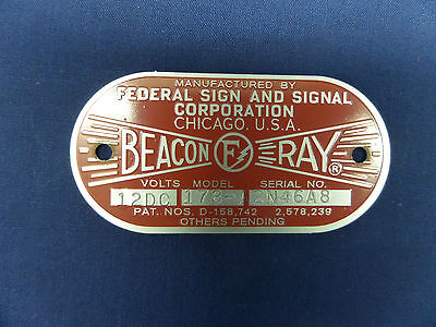 Federal Sign and Signal Model 173-A  Beacon Ray Replacement Badge