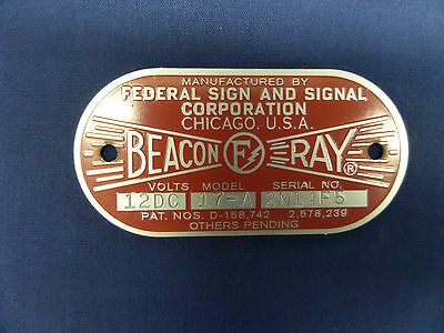 Federal Sign and Signal Model 17-A Beacon Ray 12 Volt Replacement Badge