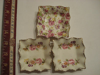 3 Vintage James Kent Ltd Longton England Floral flower Patterern Pin Small Dish