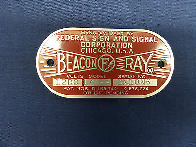 Federal Sign and Signal Model 176-A  Beacon Ray Replacement Badge
