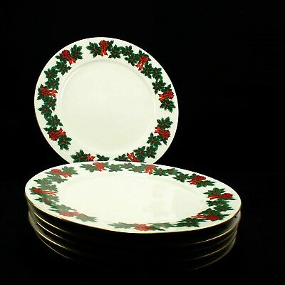 Libbey Holly Berry Ribbon Gold Rim Holiday Christmas Salad Dessert Plate- Qty 6
