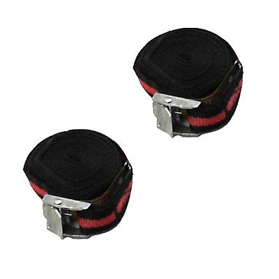 Buckled Straps Set 2pce 2.5m x 25mm with metal cam buckle securing