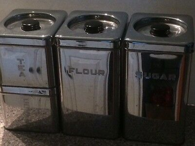 Vintage Lincoln Beautyware Mid Centry Modern Chrome Canisters Set of 4
