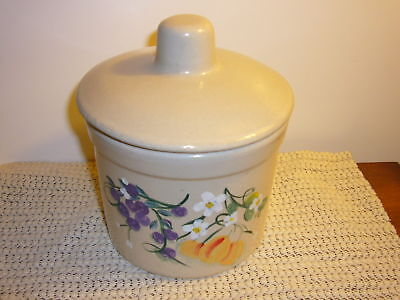 STONE WARE PINT JAR ROSEVILLE WITH LID HAND PAINTED