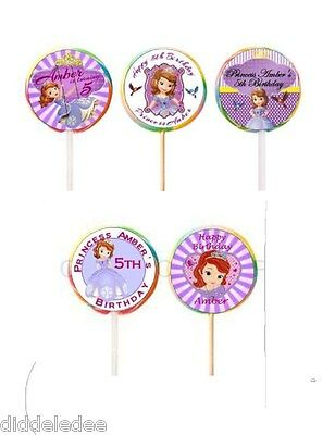 30 Sofia the First Stickers Lollipop Labels Party Favors 1 1/2 inch Personalize