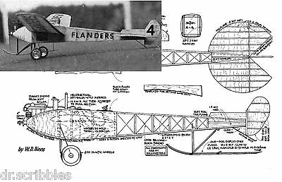 """Model Airplane PLANS 19 1/2"""" Co2 freeflight Flanders F3 full size Printed Plans"""