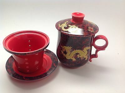 Chinese Dragon Design Ceramic Tea Cup with a Strainer  - 10 oz.