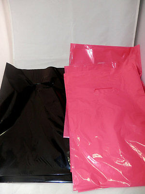 "100 9"" x 12"" Hot Pink and Black Low-Density Plastic Merchandise Bags"