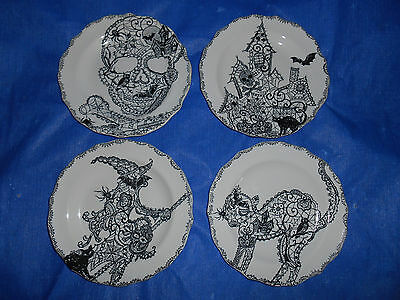 222 FIFTH 4 Appetizer Side Plates Wiccan Lace Black & White Halloween Gothic