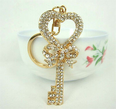 Keychain Heart Butterfly Lovely Fashion Cute Swarovski Crystal Pendent Charm New