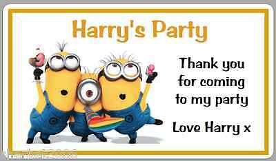 10 x Personalised Stickers Minions Birthday Party Thank You Labels Large