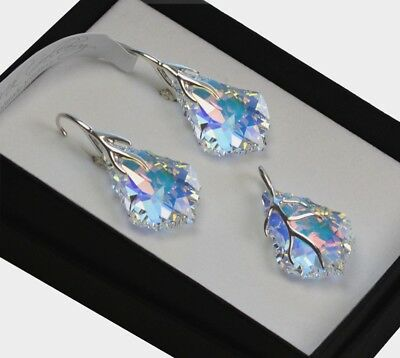 925 Silver Earrings/Necklace/Set *CRYSTAL AB* Baroque Crystals from Swarovski®