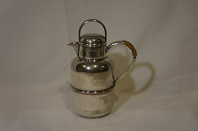 "Vintage Antique Cambridge Water Pitcher Silver-Plate 6.5"" Tall w/Rattan EPC 1135"