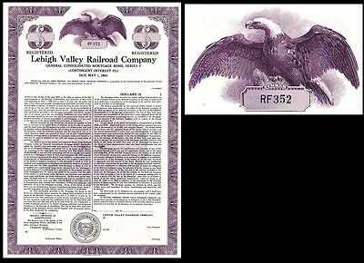 Lehigh Valley Railroad Company PA 1950 (unissued) Stock Bond Certificate