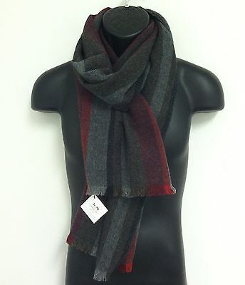 COACH 84082 Men's $98 Grey Red Multicolor Variegated Stripe Wool Cashmere Scarf