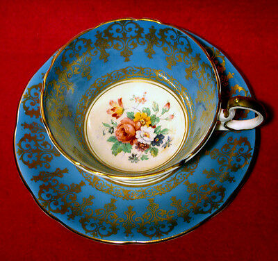 AYNSLEY TEA CUP & SAUCER PINK ROSE BOUQUET CENTER IN TURQUOISE AND GOLD