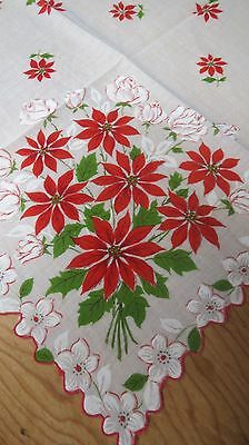 Vintage Ladies Christmas Hankie Handkerchief Poinsettias and Roses